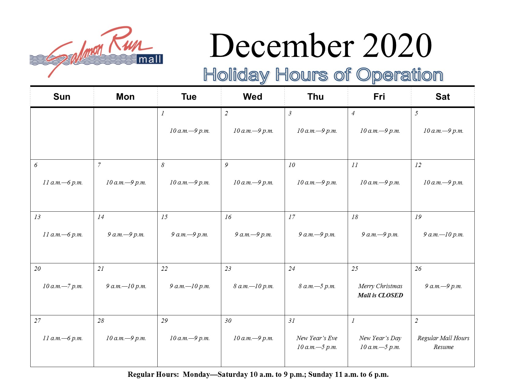 SRM Holiday Hours 2020 FINAL Dec