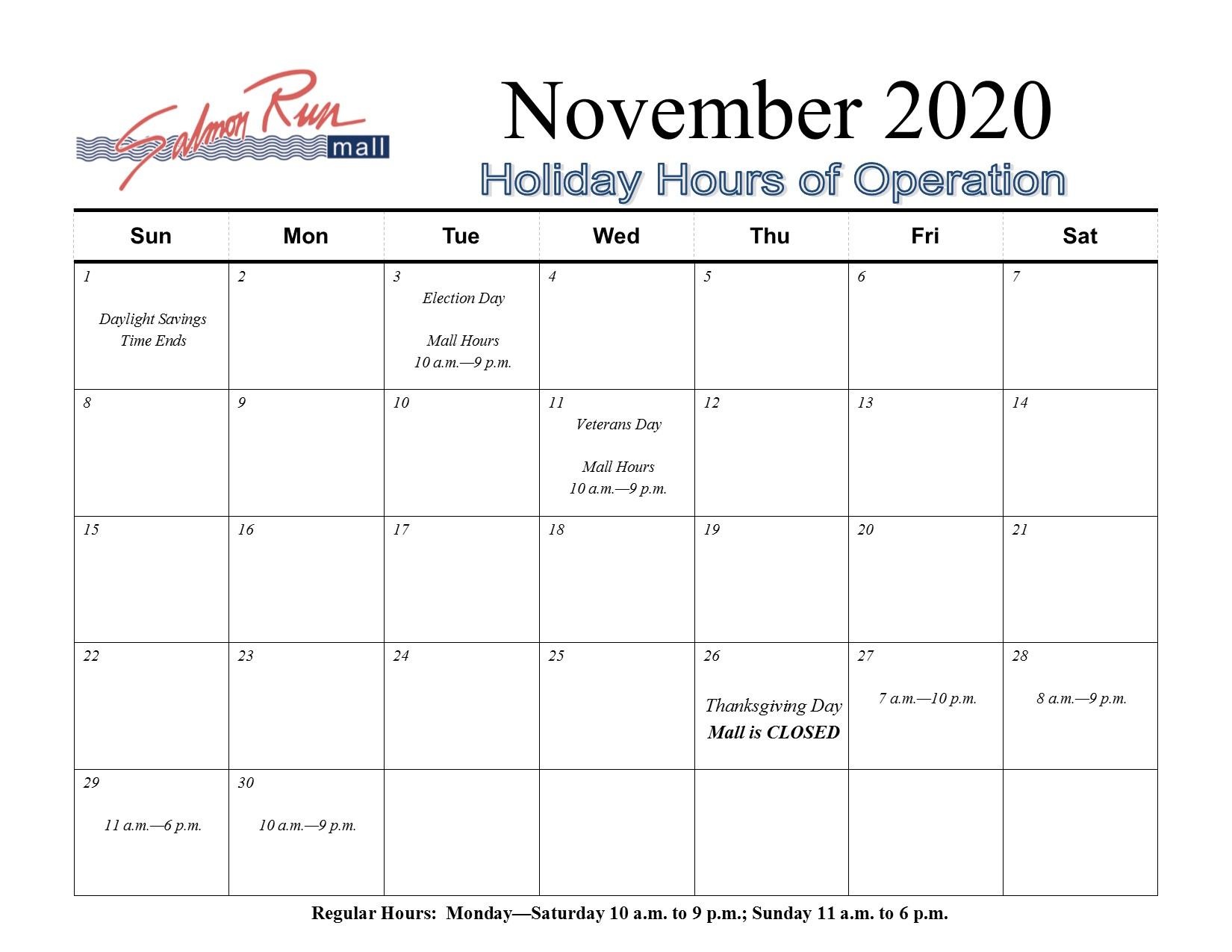 SRM Holiday Hours 2020 FINAL Nov